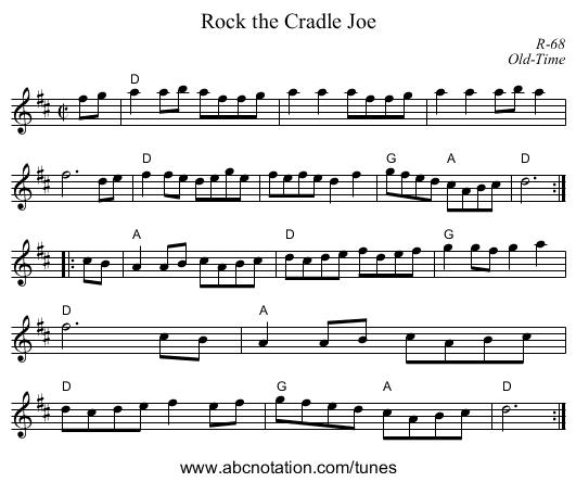 Rock the Cradle Joe - staff notation