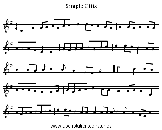 Simple Gifts - staff notation