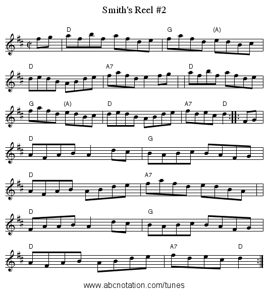 Smith's Reel #2 - staff notation