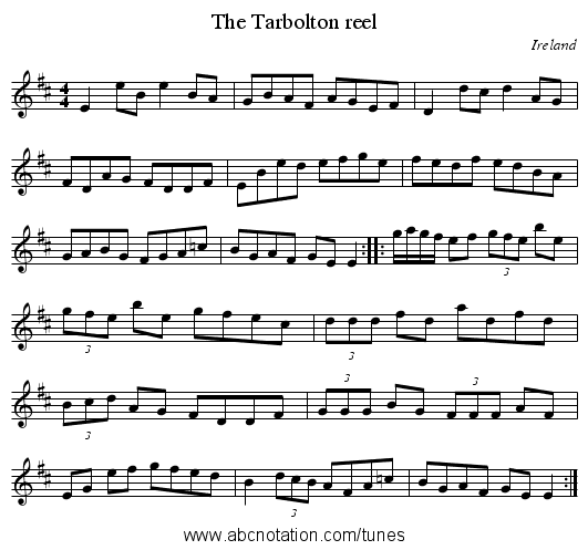 Tarbolton reel, The - staff notation