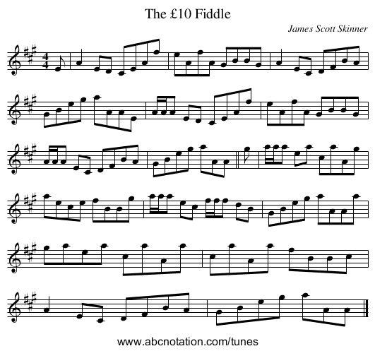 The £10 Fiddle - staff notation