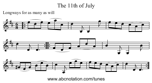 The 11th of July - staff notation