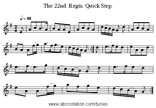The 22nd. Regts. Quick Step. - staff notation