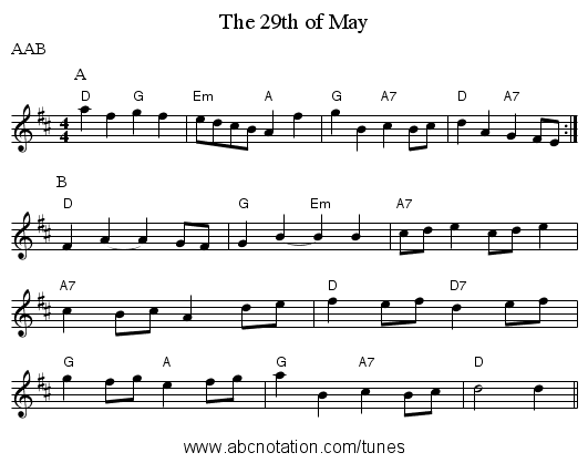 The 29th of May - staff notation