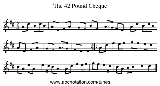 The 42 Pound Cheque - staff notation