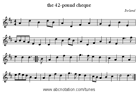 the 42-pound cheque - staff notation