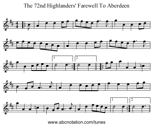 The 72nd Highlanders' Farewell To Aberdeen - staff notation