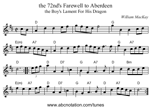 the 72nd's Farewell to Aberdeen - staff notation