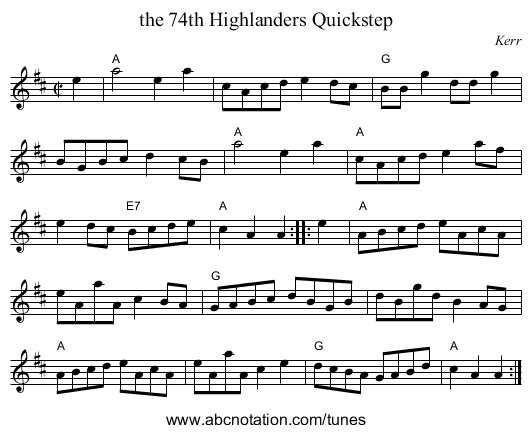 the 74th Highlanders Quickstep - staff notation
