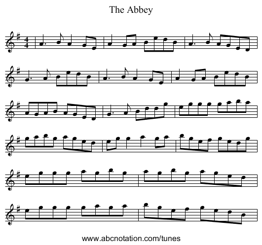 The Abbey - staff notation