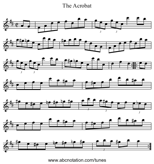 The Acrobat - staff notation