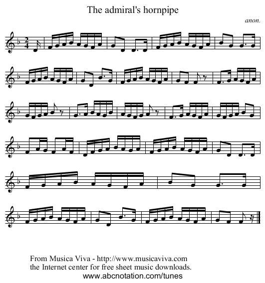The admiral's hornpipe - staff notation