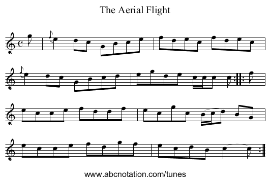 The Aerial Flight - staff notation
