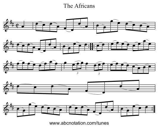 The Africans - staff notation