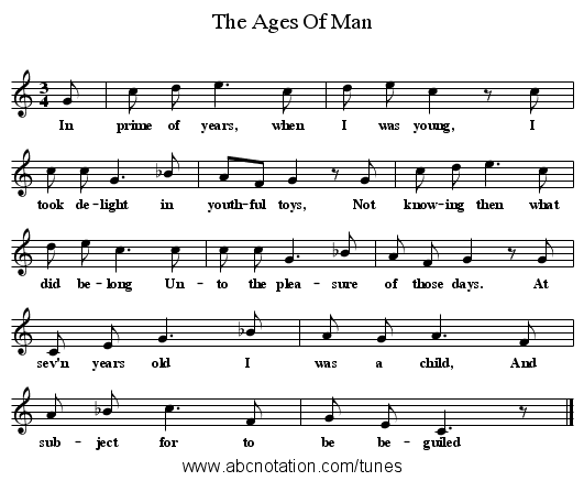 The Ages Of Man - staff notation