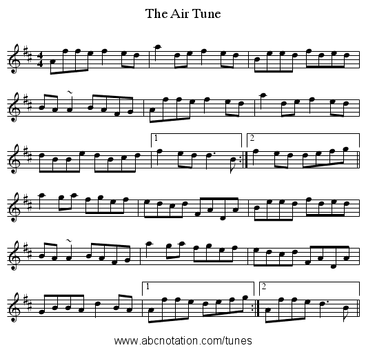 The Air Tune - staff notation