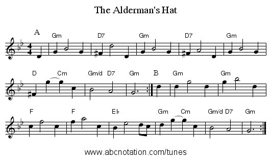 The Alderman's Hat - staff notation