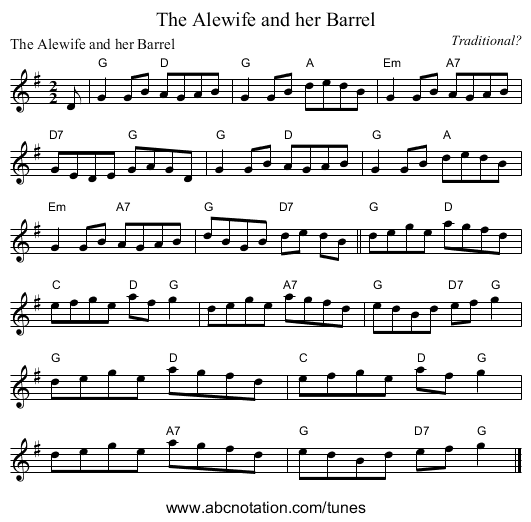 The Alewife and her Barrel - staff notation