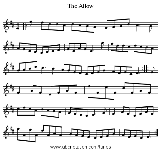 The Allow - staff notation