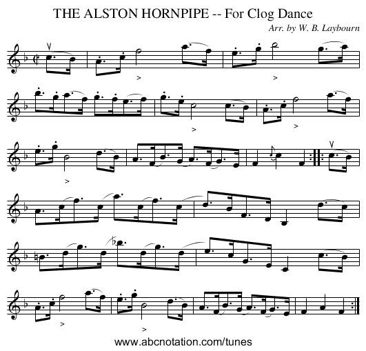 THE ALSTON HORNPIPE -- For Clog Dance - staff notation