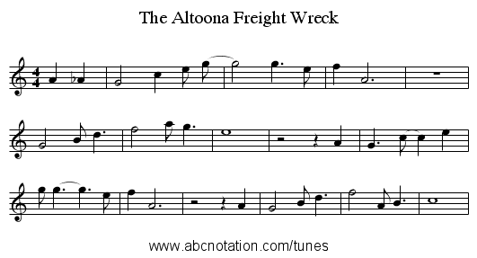 The Altoona Freight Wreck - staff notation