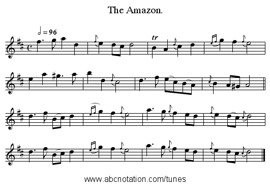 The Amazon. - staff notation