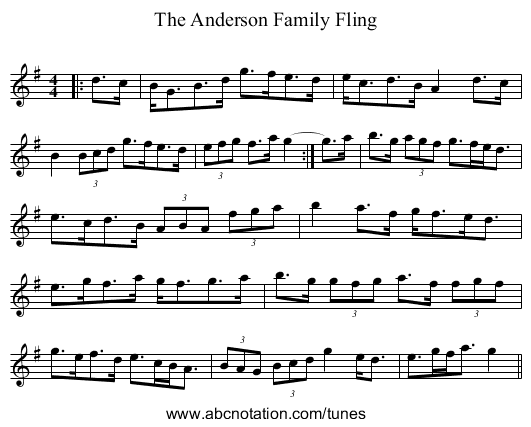 The Anderson Family Fling - staff notation