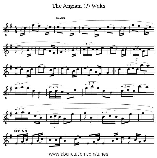 The Angiam (?) Walts - staff notation