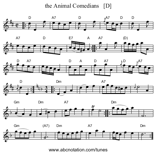 the Animal Comedians - staff notation