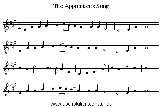 The Apprentice's Song - staff notation