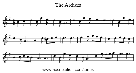 The Archers - staff notation