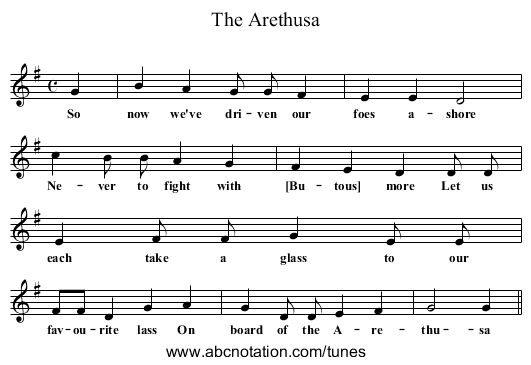The Arethusa - staff notation