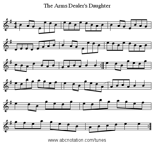 The Arms Dealer's Daughter - staff notation