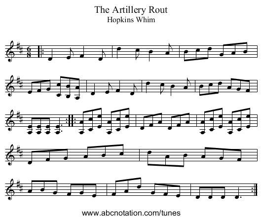 The Artillery Rout - staff notation