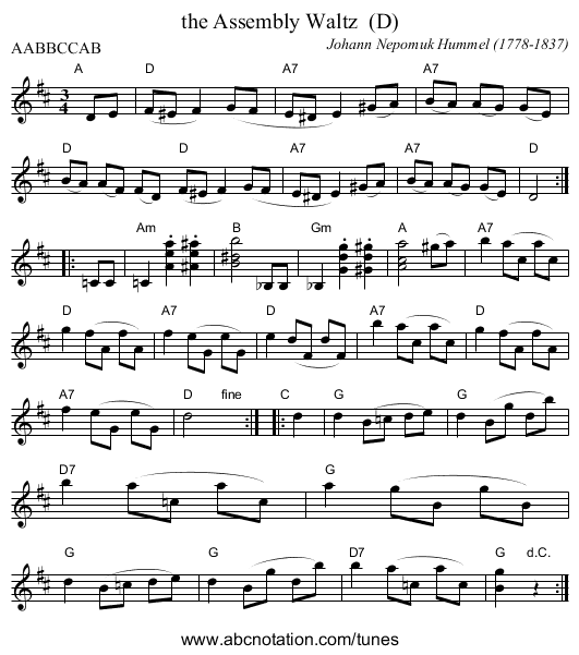 the Assembly Waltz  (D) - staff notation