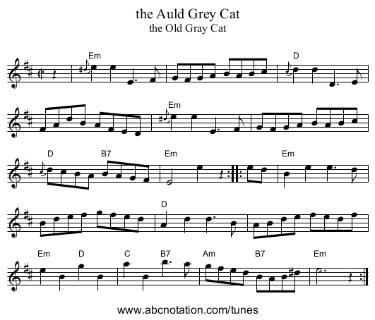 the Auld Grey Cat - staff notation