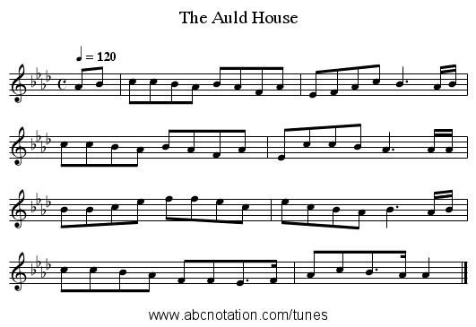The Auld House - staff notation