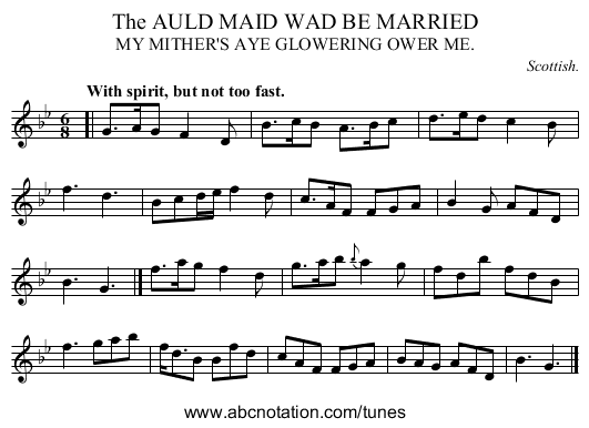 The AULD MAID WAD BE MARRIED - staff notation