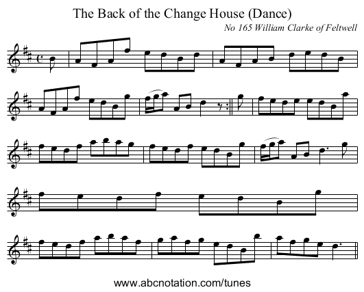 The Back of the Change House (Dance) - staff notation