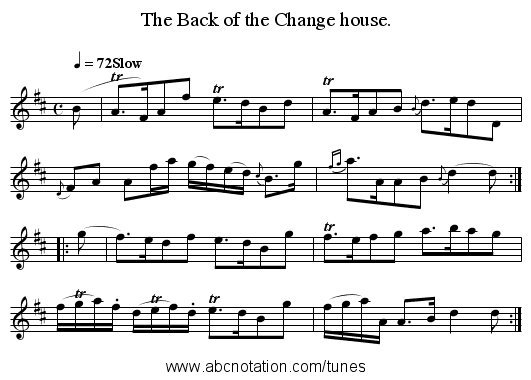 The Back of the Change house. - staff notation