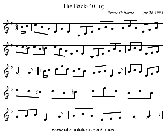 The Back-40 Jig - staff notation