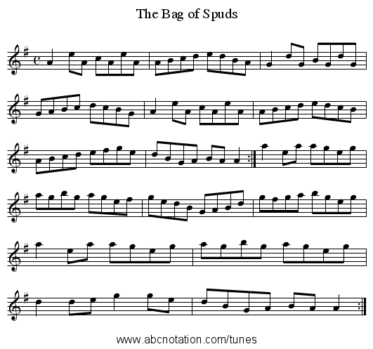 The Bag of Spuds - staff notation