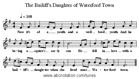 The Bailiff's Daughter of Waterford Town - staff notation