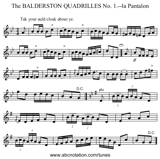 The BALDERSTON QUADRILLES No. 1.--la Pantalon - staff notation