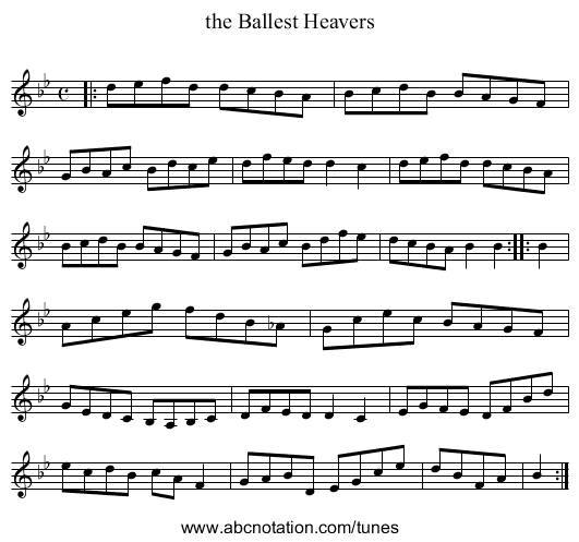 the Ballest Heavers - staff notation