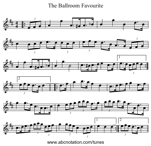 The Ballroom Favourite - staff notation