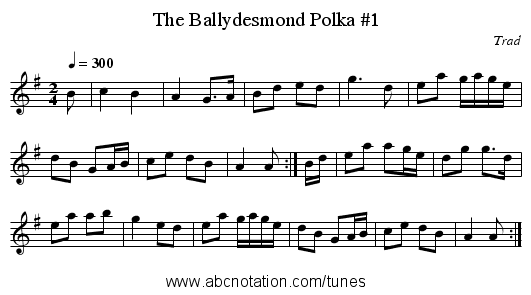 The Ballydesmond Polka #1 - staff notation