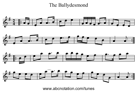 The Ballydesmond - staff notation