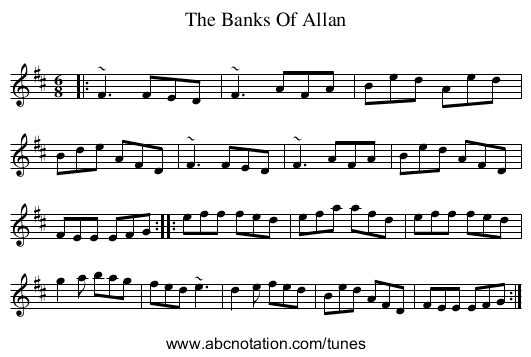 The Banks Of Allan - staff notation