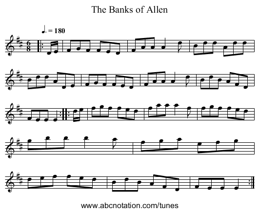 The Banks of Allen - staff notation